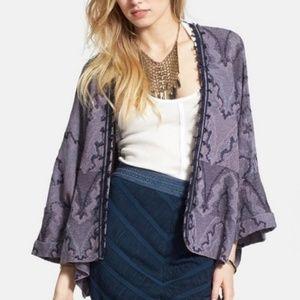 Free People purple kimono knit butterfly cardigan